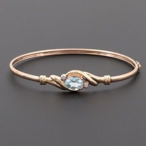 Beautiful Retro Topaz Diamond 10k Gold Bracelet